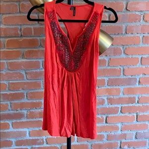 Tops - Maurice's salmon tank with beaded detail